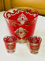 Vintage Starlyte Red & Gold Ice Bucket and Two Shot Glasses