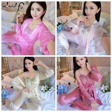 3Pieces/Set Women Lady Silk Satin Pajamas Pyjama Sleepwear Nightwear Loungewear