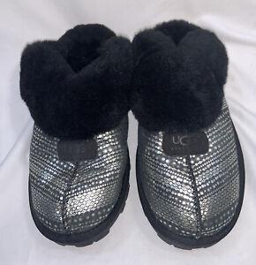 UGG Coquette Silver/ Black Leather Slipper Women Size US 8/ UK 6.5 / EU 39