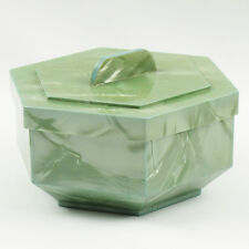 Vintage Mid-Century Celluloid Trinket Box Moonglow Green Almond