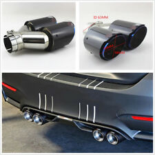 Glossy 100% Real Carbon Fiber Dual Exhaust Pipe Tail Muffler Tip 63mm-I /89mm-O