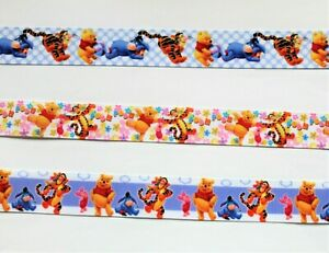 Beautiful Winnie the Pooh Ribbons ,25 mm , 3 designs, for cakes, bows & crafts.