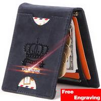 Genuine Nubuck Leather Slim Card Holder Wallets For Men-Minimalist RFID Blocking