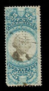 1871 Scott  R112  US Revenue Stamp 25 Cents Blue & Black Perf Stamp