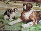 Antique Victorian Axminster wool rug kitten and dog  floral #