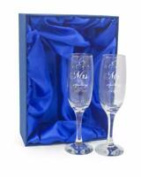 Personalised Engraved Champagne Flutes x 2 Wedding Day Mr & Mrs DCF-2