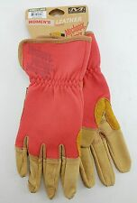 Mechanix Women's Leather Palm & Padded Palm Gloves - Large Red/Pink Work Gloves