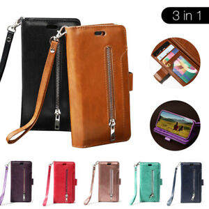 Leather Zip Card Holder Stand Wallet Flip Case Cover For iPhone 11 12 XR XS MAX