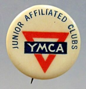 1930's Y.M.C.A. JUNIOR AFFILIATED CLUBS YMCA pinback button with back paper ^