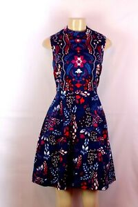EVA MNDES BLUE/RED MULTI COLOR SLEEVELESS FIT& FLARE FLORAL DRESS SIZE 8