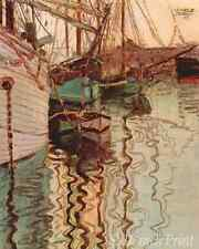The Port of Trieste by Egon Schiele - Water Reflect Boat 8x10 Print Picture 1584