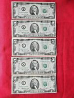 ✯1976 LUCKY NEW Uncirculated Two Dollar Bill Crisp $2 Sequential 5 Note Rare New