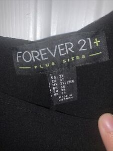 forever 21 plus size 3x black dressy cut out back blouse