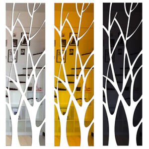 Acrylic Tree Mirror Wall Sticker Removable DIY Art Decal Home Decor Mural UK