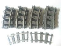 LEGO 22 Kurven Eisenbahn Schienen 9V mit Metallbelag 4520 Konvolut Kg #S4