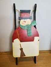 Snowman Christmas Holiday Sleigh Wall Hanging