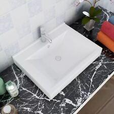 vidaXL Elegante Lavabo Rectangular Ceramica Negro/Blanco Agujero Grifo 60x46cm