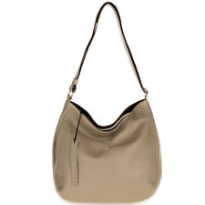 Bruno Rossi Italian Made Genuine Beige Leather Large Hobo Bag with Side Pocket