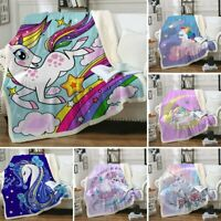 Unicorn Sherpa Blankets Plush Throw Soft Blankets Bedspread for Kid Bed Sofa