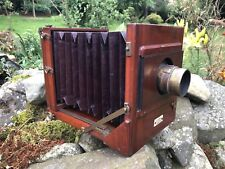 Large Mahogany Victorian Bellows camera. A&N Auxiliary. Folding Plate Antique