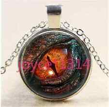 Vintage dragon eyes Cabochon Tibetan silver Glass Chain Pendant Necklace #1390
