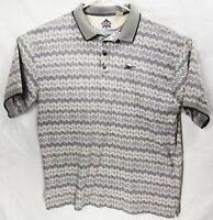 Reebok Golf Mens Golf Rugby Polo Shirt White Gray Chevron Pattern Size XL EUC