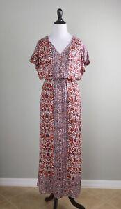 LUCKY BRAND $99 Paisley Floral Elastic Waist V-Neck Maxi Dress Size Medium