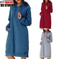 Women Hooded Sweatshirt Dress Casual Long Sleeve Hoodie Jumper Pullover Dress US