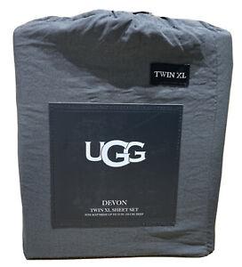 UGG Devon Sheet Set - Charcoal Dark Grey - TWIN XL