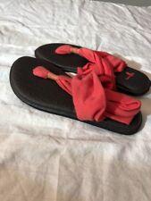 SanukYoga Sling 2 Sandals Flip Flops Striped Orange/Black Sz 5 *New