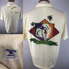 Vintage 70's 80's Lightning Bolt Surfing Hawaiian Polo Shirt Size Xl