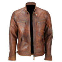 Men Biker Quilted Vintage Distressed Motorcycle Cafe Racer Leather Jacket