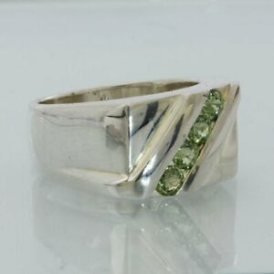 Sparkling Green Sapphire Handmade Sterling Silver Gents Unisex Ring size 10.5