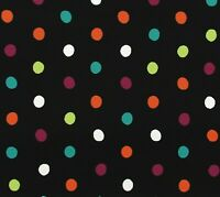 "Black White Teal Orange Purple Lime Polka Dot Cotton Quilting Fabric 32"" x 43"""