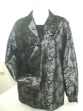Sag Harbor Woman's M Gray Satin Black Velvet Jacket Attached Tank Top 2 Piece