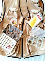 FROSTLINE Khaki Canvas Fishing Vest + Extras ~ Magnetic Fly Box & 60+ Flies Sz L