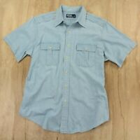 Polo Ralph Lauren chambray shirt LARGE light wash blue camp utility work