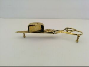 """VTG CANDLE WICK TRIMMER/OIL LAMP CUTTER SNUFFER, BRASS, FOOTED, APPROX 5-3/4"""""""