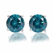 Blue Round Stud Women Earrings Four Prong 925 Sterling Silver Cz 3mm - 14mm*