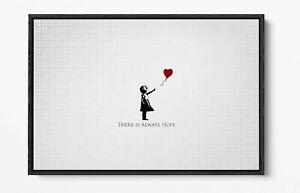 BANKSY-HEART BALLOON GIRL-DEEP FLOATER/FLOAT EFFECT FRAMED CANVAS WALL ART PRINT