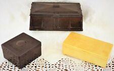 Vintage 1930s Art Deco Bakelite boxes x 3 ~ cream & brown bakelite