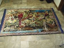 Beautiful Vintage Parrot Blue Rug Tapestry 46x72 Boho Mid Century