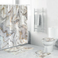 4 Pcs Marble Shower Curtain Sets with Non-Slip Rug Toilet Lid Cover and Bath Mat