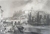 Chinon Engraving 1856 per Rouargue Indre-Et-Loire Centre-Val of Loire