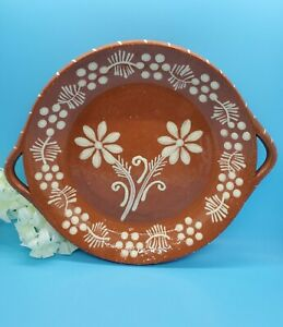 Cevalfer Portugal Handmade Bowl Platter Terra Cotta with Flower Design