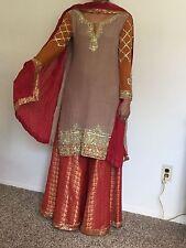 Pakistani Designer suit Heavy Embroidery Party/Wedding wear Medium (New)