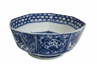 Antique: Chinese Porcelain Octagon Bowl, Landscape Scene Painted, Blue & White