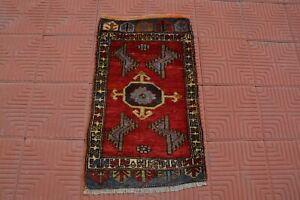 Small Wool Rug, Oushak Rug, Blue Area Rug, Turkoman Area Rug, 2x3 Rug, Handmade