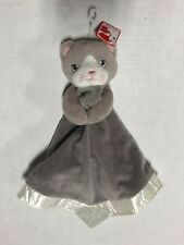 New Gund Gray Kitty Cat Security Blanket Teether Velour Satin