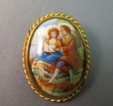 Cameo Style Brooch Courting Couple Made France Hand Painted Porcelain Colorful